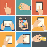 Business hands action, pointers to touch digital d. Evices, e-commerce. Internet shopping on digital tablet, business concept Stock Image