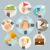 Business hands concept icons. Stock Photo