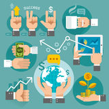 Business hands concept icons. Royalty Free Stock Photography