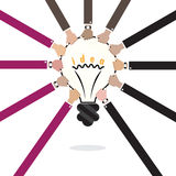 Business hands and creative light bulb abstract vector logo  Royalty Free Stock Photo