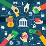 Business hands financial flowchart Stock Photos