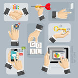 Business Hands Flat Icons Set. Vector. Royalty Free Stock Photo