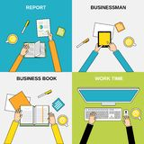 Business hands flat line Royalty Free Stock Photos