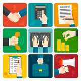 Business Hands Flat Set Royalty Free Stock Images