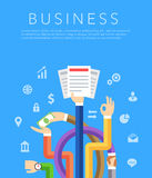 Business hands flat vector background Stock Photo