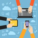 Business hands with gadgets Stock Image