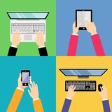 Business hands with gadgets Royalty Free Stock Photography