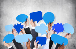 Business Hands Holding Speech Bubbles Royalty Free Stock Photography