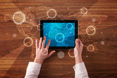 Business hands holding tablet Royalty Free Stock Images