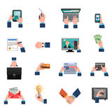 Business Hands Icons Flat Set. Business hands holding different commerce and financial symbols icons flat set  vector illustration Stock Photos