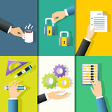 Business hands icons Stock Photos