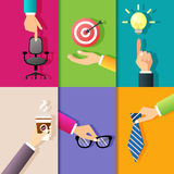 Business hands icons Stock Photography