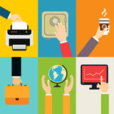 Business hands icons. Business hands gestures design elements of putting paper to printer touching safe isolated vector illustration Royalty Free Stock Images
