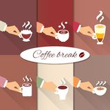 Business hands offering hot coffee drinks stock illustration