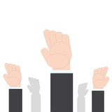 Business Hands raised up. Concept of volunteerism on white background, vector illustration in flat design Stock Images