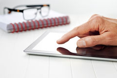 Business Hands Tablet Background stock photos