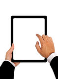 Business hands with Tablet connection Royalty Free Stock Photo