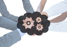 Business hands together behind grey cloud and gear graphic. Digital composite of Business hands together behind grey cloud and gear graphic Stock Photos