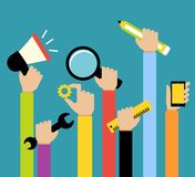 Business hands tools Stock Images