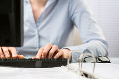 Business Hands Typing on Keyboard Stock Photography