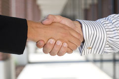 Business handshake. Businessman and businesswoman shaking hands Stock Image
