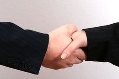 Business Handshake. Two business people (male and female) perform a handshake Royalty Free Stock Photo