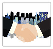 Business handshake. With buildings in the background Royalty Free Stock Photo