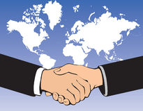 Business handshake. Over world background Stock Photos