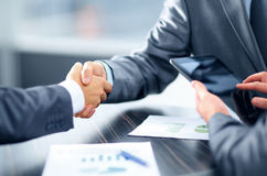 Business handshake. Adult agreement background beautiful blue business businessman businesswoman communication company computer concept