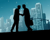 Business Handshake. In a town vector illustration Stock Photos