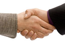 Business handshake. Man and woman business handshake isolated on white royalty free stock images