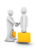 Business handshake. Two rendered business figures shaking hands Stock Photo