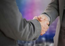 Free Business Handshake Against Blurry Purple Wall With City Doodle Royalty Free Stock Image - 94919566