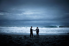 Business Handshake Beach Cooperation Concept Stock Photography