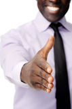 Business handshake black. Black african businessman handshake to show business agreement Stock Photo