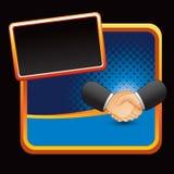 Business handshake on blue halftone stylized ad Stock Photography