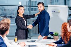 Business handshake. Business handshake and business people concept royalty free stock image