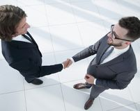 Business handshake and business people concepts. Business handshake of two men demonstrating their agreement Stock Image