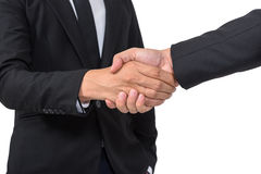 Business handshake and business people concepts. Two men shaking hands isolated on white background, with clipping path Royalty Free Stock Photo