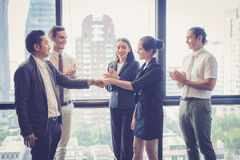 Business handshake and business people. Business executives to congratulate the joint business agreement stock image
