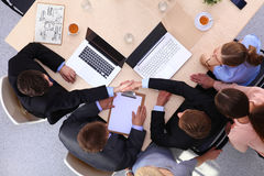 Business handshake. Business people shaking hands, finishing up a meeting Royalty Free Stock Image