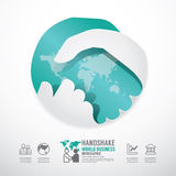 Business handshake business with world paper style  template Stock Photo