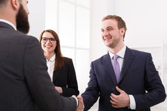 Business handshake closeup, contract conclusion and successful agreement concept. Crop image Stock Photo