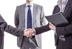 Business handshake for a closing deal Stock Photos