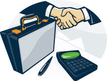 Business Handshake Deal Briefcase Retro Royalty Free Stock Images