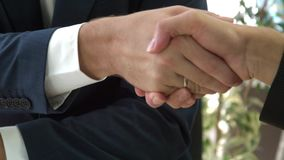 Business handshake. Business deal business handshake office stock video footage