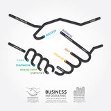 Business Handshake Diagram Line Style Template Stock Photo