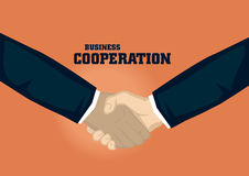 Business Handshake of Different Ethnicity Vector Illustration. Handshake of different ethnicity. Vector cartoon for business illustration on business cooperation Stock Image