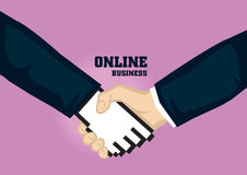 Business Handshake with Digital Hand Icon Vector Illustration fo. Vector illustration of business handshake with a digital hand icon isolated on plain purple Royalty Free Stock Photo