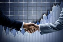 Business Handshake  friends. Diagram  background Stock Photography